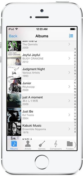MonkeyMote depuis un iPhone - Parcours des albums
