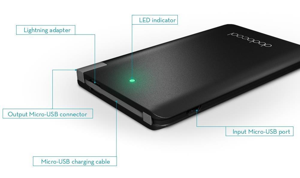 Une batterie externe ultra fine et design compatible avec port Micro USB et Lightning