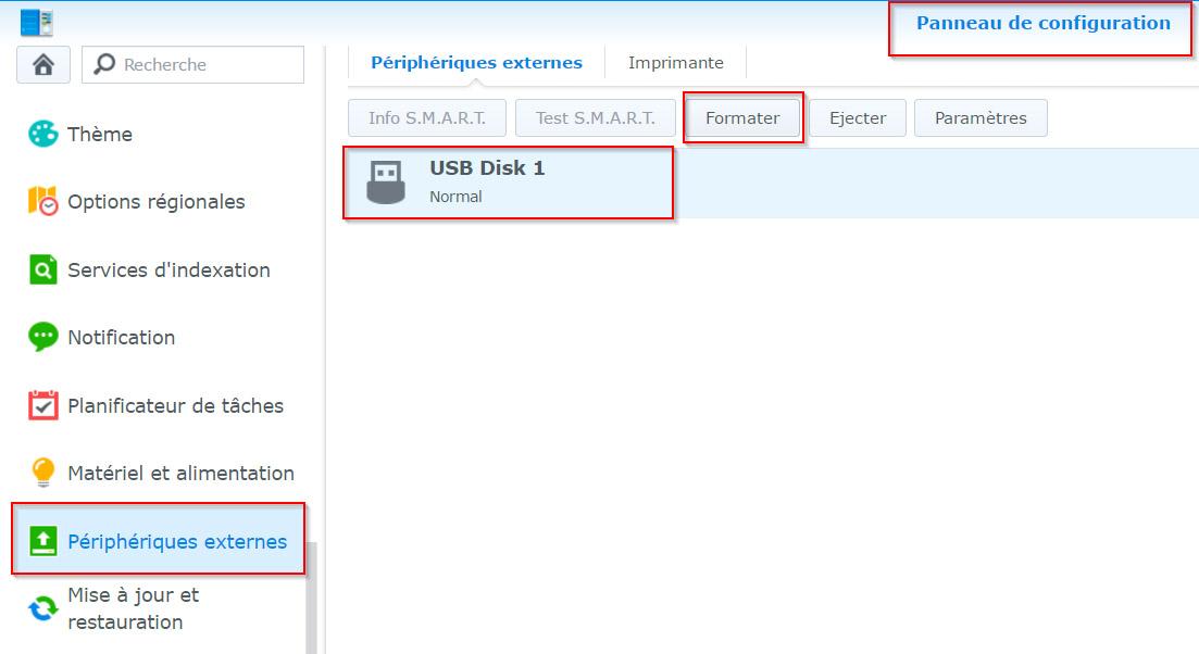 USB Copy pour exporter automatiquement un répertoire Synology sur un disque USB