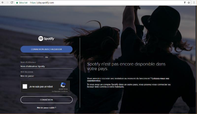 Message lorsque Spotify est bloqué