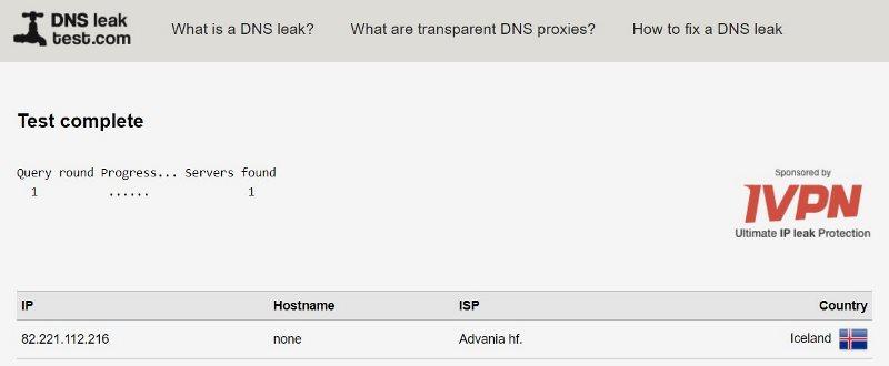 Vérification de la présence de fuites DNS du VPN