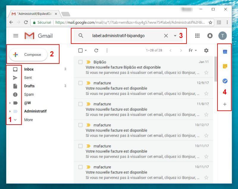 Boîte de réception du nouveau Gmail