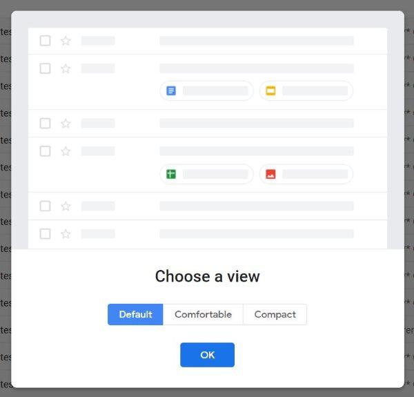 Choix de l'interface du nouveau Gmail