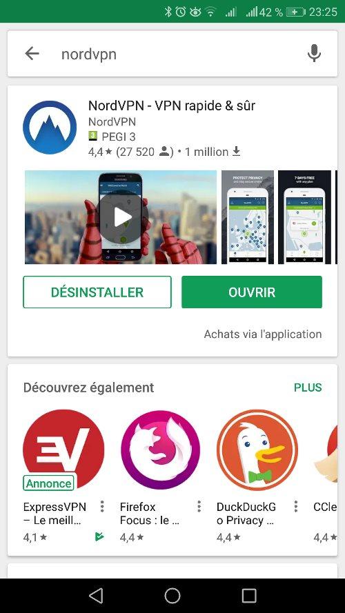 L'application NordVPN sur Android