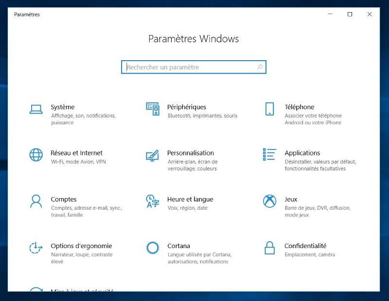 Les paramètres Windows