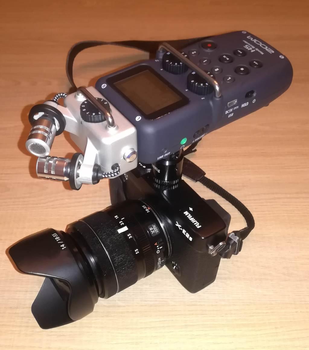 Le Zoom H5 monté sur un Hybride Fujifilm grâce à un adaptateur SmallRig