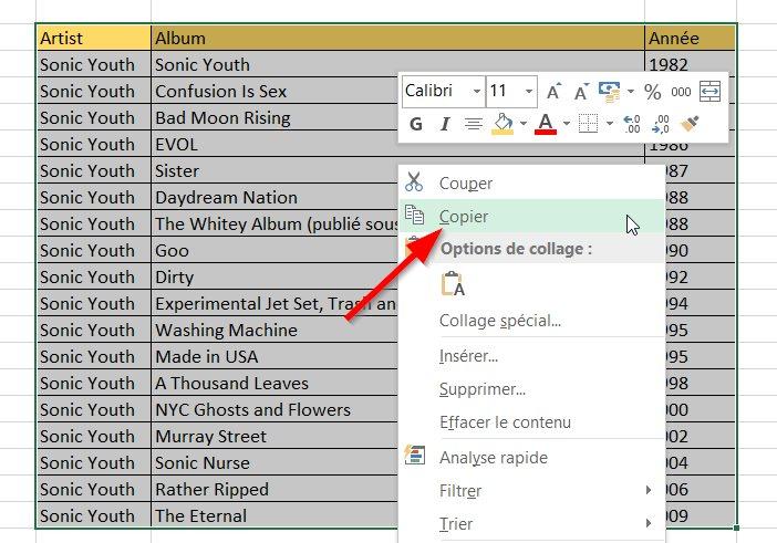 Copier le tableau Excel