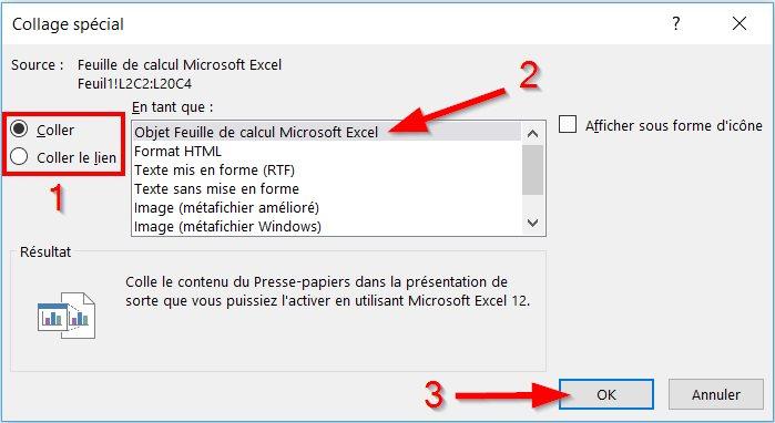 Collage spécial pour lier ou intégrer Excel dans PowerPoint