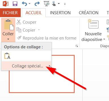 Coller le tableau Excel dans PowerPoint
