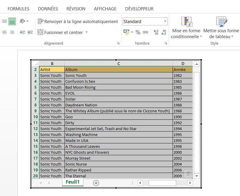 Intégrer Excel dans PowerPoint