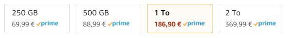 Le tarif des Samsung T5 sur Amazon