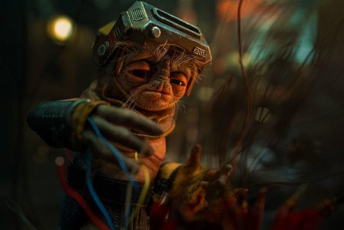 """Babu Frik est un minuscule """"forge-droïde"""" opérant sur la planète Kijimi. Il travaille pour les trafiquants d'épice."""