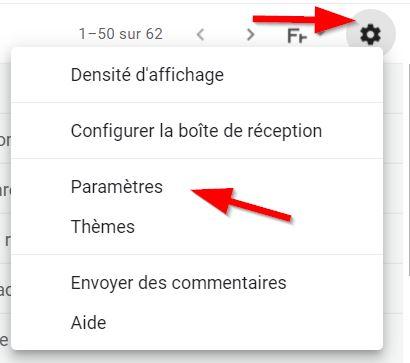 Accès au paramètres de Gmail