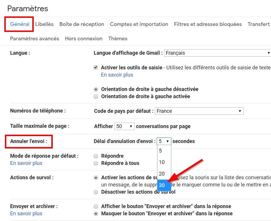 Les paramètres Gmail pour modifier la temporisation d'envoi d'un mail