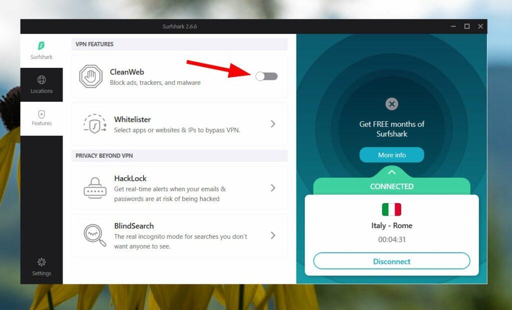 Activer CleanWeb dans Surfshark VPN