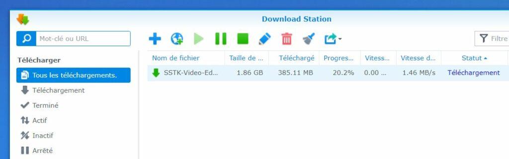 Téléchargement d'un fichier sur Download Station