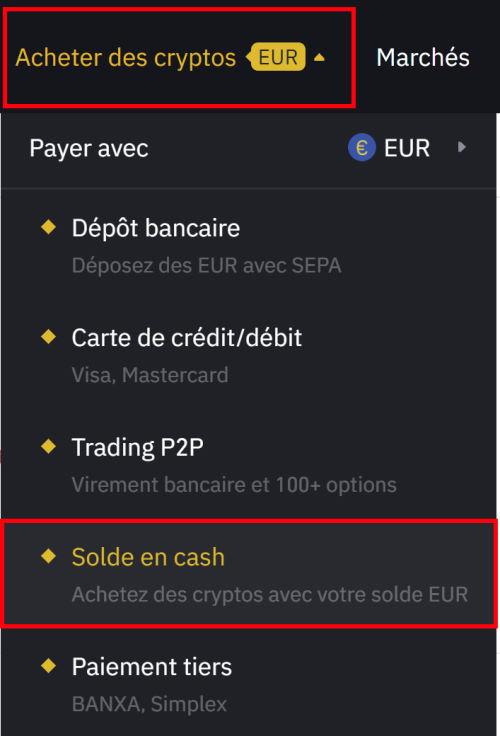 Solde Cash en EUR