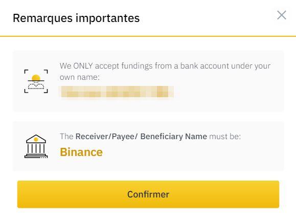 Transfert d'argent chez Binance pour acheter des BTC / Cryptomonnaies