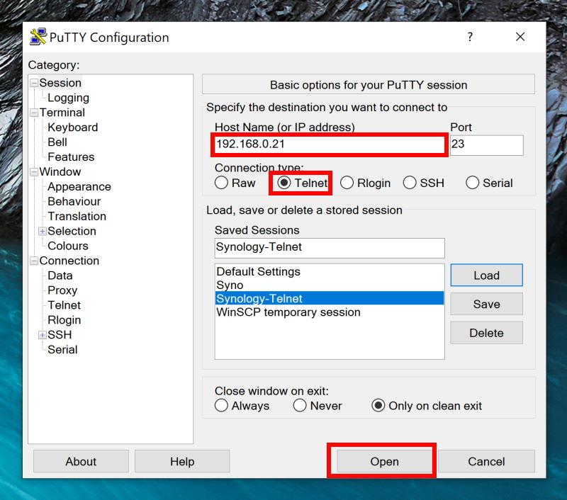 Initier une connexion Telnet