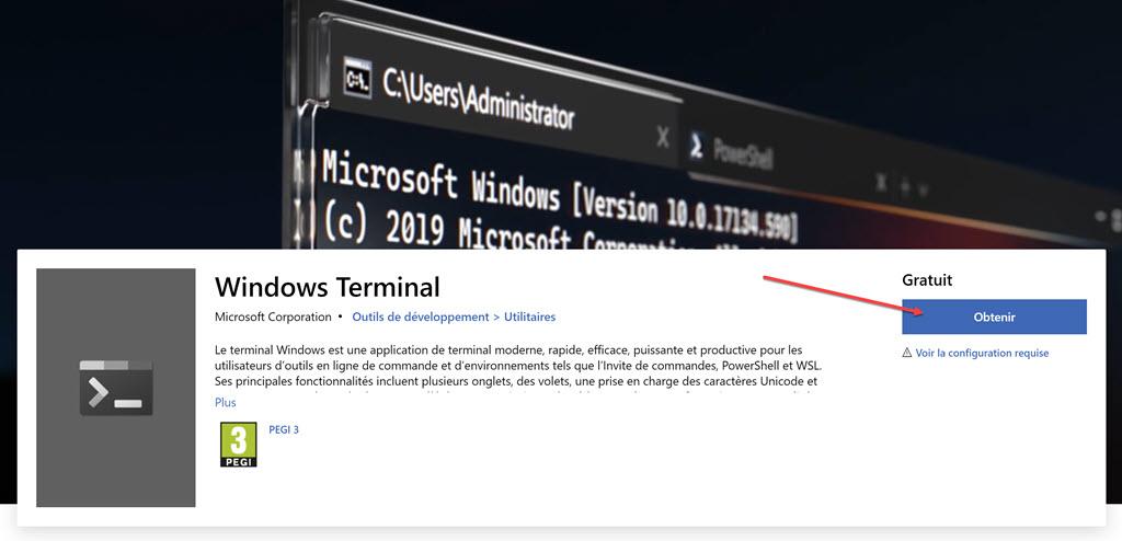 Installer Windows Terminal depuis Microsoft Store