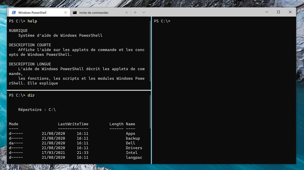 Volets dans Windows Terminal