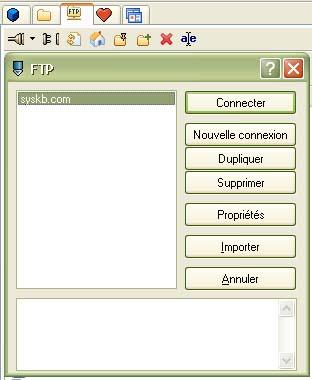 Fenêtre de gestion des connexions FTP sous PSPad
